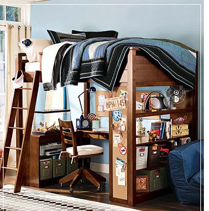 Blue Dorm Room With Multi Use Loft Bed Furniture With Storage Desk And  Ladder Part 79