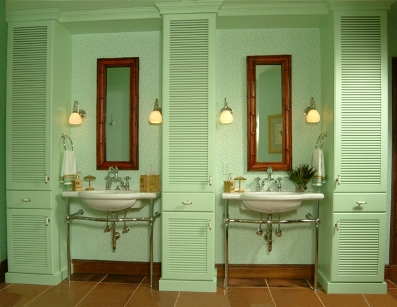 Spring is in the air with pastels for Cabana bathroom ideas